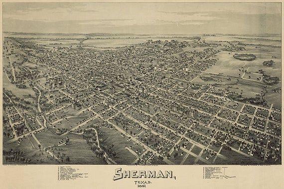 24x36 Denison Texas 1891 Historic Panoramic Town Map