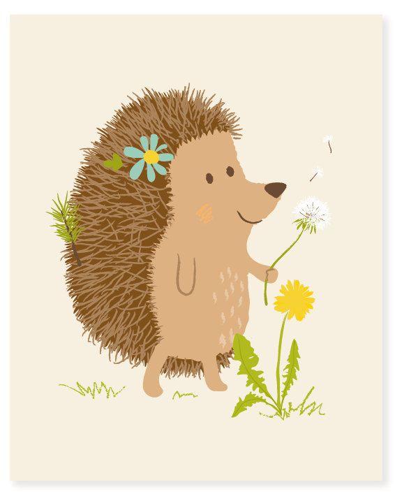 hedgehog  woodland art print 8x10  nursery art by SeaUrchinStudio, $15.00