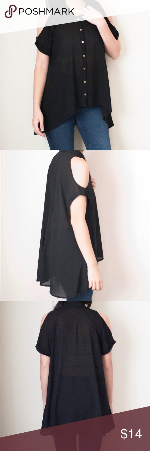 Black Cold Shoulder Chiffon Cover Up Button Up Forever 21. Size Small. Worn twice; in overall great condition! Forever 21 Swim Coverups