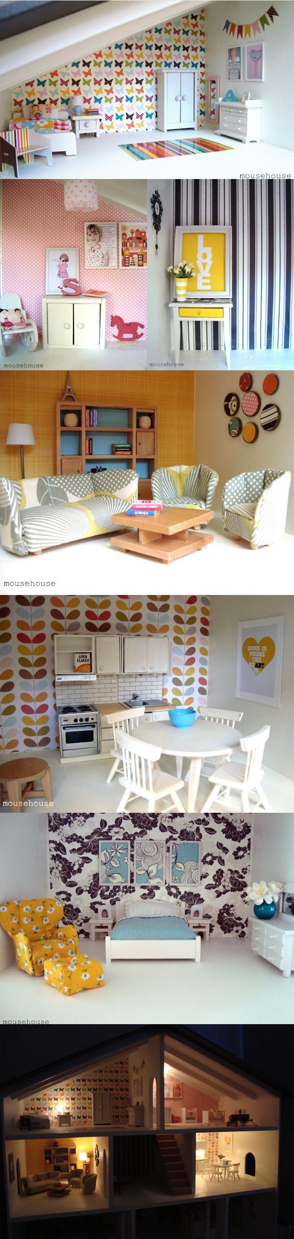 Amazing Modern #Dollhouse - Kitchen, living room and bedroom - Lovely and Tiny creations