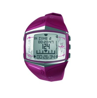 The Polar FT60F women's heart rate monitor watch measures heart rate BPM, HR-based target zones with visual and audio alarms, manual target zones and displays calories burned. The watch features back-light and shows date and time, prepares training programs based on the user's goals and creates weekly training targets. It provides feedback on the effect of the training, measures aerobic fitness when users are resting and shows them their progress. This model comes in gorgeous purple color.