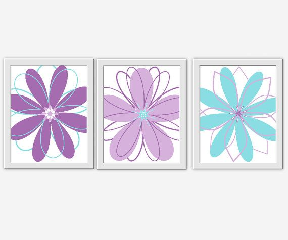 Modern Floral Wall Art Purple Teal Aqua Lavender Girl Bedroom Wall Decor  Flower Prints Baby Girl