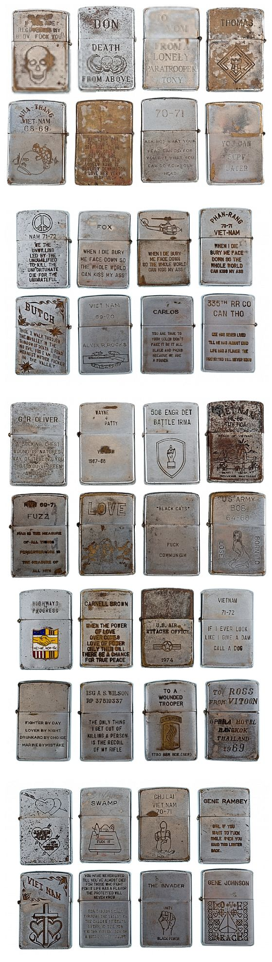 Vintage Vietnam Zippo Lighter Collection - sold at auction for more than 32K… these are an incredible piece of American history. Awesome to read all the engravings.