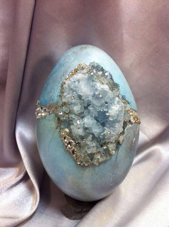 Blue/Silver Goose Egg set with Celestite crystals and rhinestones on Etsy, $95.00