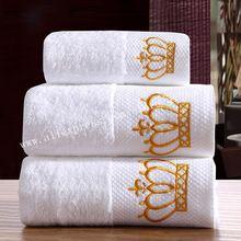 2015 роскошные полотенца комплект = ванна + + полотенца для рук 100% хлопок белый вышивка утолщенной 5 отель банные полотенца установить(China (Mainland))
