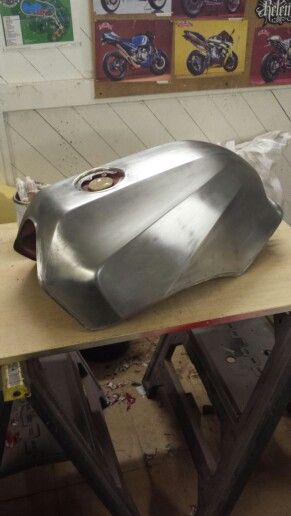 Gpz900R fuel tank stripped ready for painting