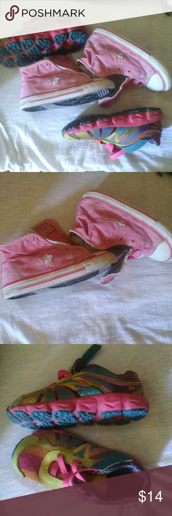 Converse high tops&New Balance shoes Size 8pink Converse all stars and Multi color  New Balance size 8.5 Converse Shoes Sneakers