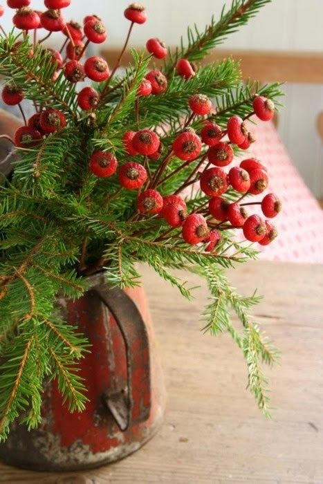 Red Rose Hips + Fir For ChristmasHoliday, Vintage Christmas, Decor Ideas, Winter, Red Roses, Country Christmas, Rose Hip, Rustic Christmas, Christmas Decor