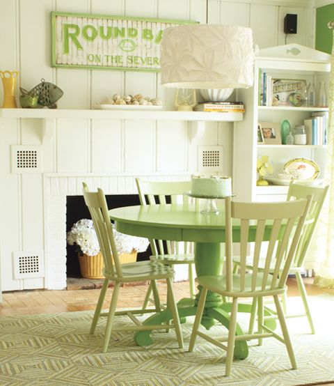 Pair Lime Green Dining Furniture With Neutral Walls For A Lovely Lift