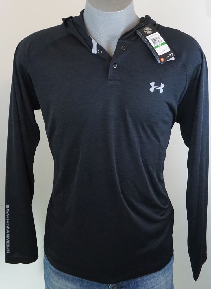 New Under Armour Men's Black Tech Popover Henley Hoodie Shirt #HeatGear Large  #Underarmour #Hoodie