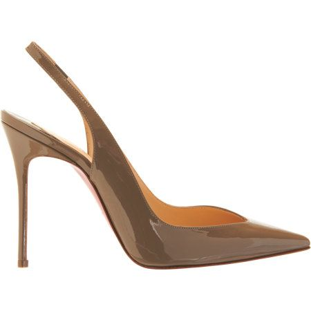 """Christian Louboutin - Fall 2013-2014 - Fleuve - Patent leather pointed toe pump designed with an asymmetric vamp and slingback ankle strap. Approximately 4"""" heel (100mm). Signature red leather sole. Available in Grege. Made in Italy."""