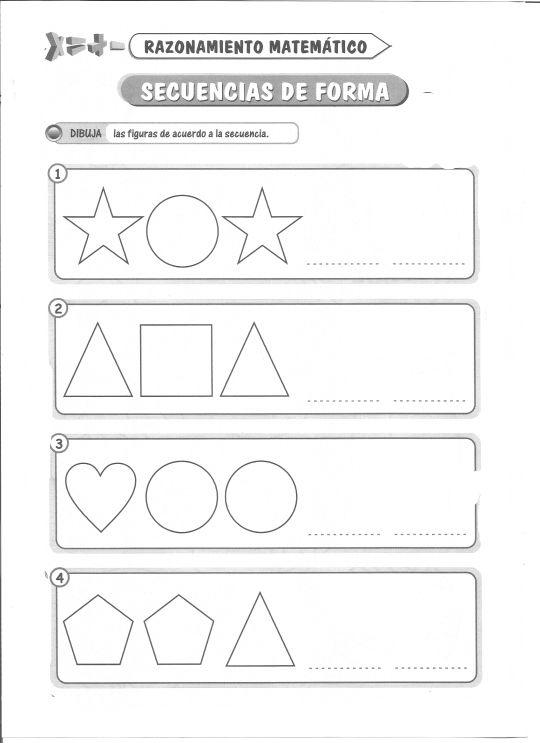 Ficha imprimible de razonamiento matemático. Tema: Secuencias de forma Actividad a realizar: Dibuja las figuras de acuerdo a la secuencia