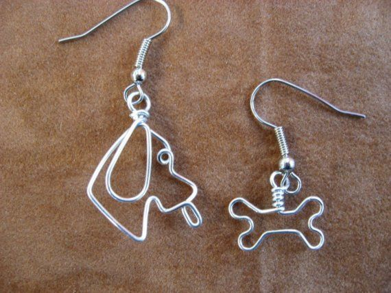 DOGGY and his BONE EARRINGS wirewrapped by chatnoir77 on Etsy, $14.00
