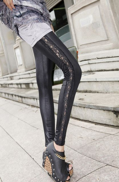 Black mesh see through gym leggings Transparent lace leggings women pu socks tights leggings sports leggins Sexy Yoga Pants P83