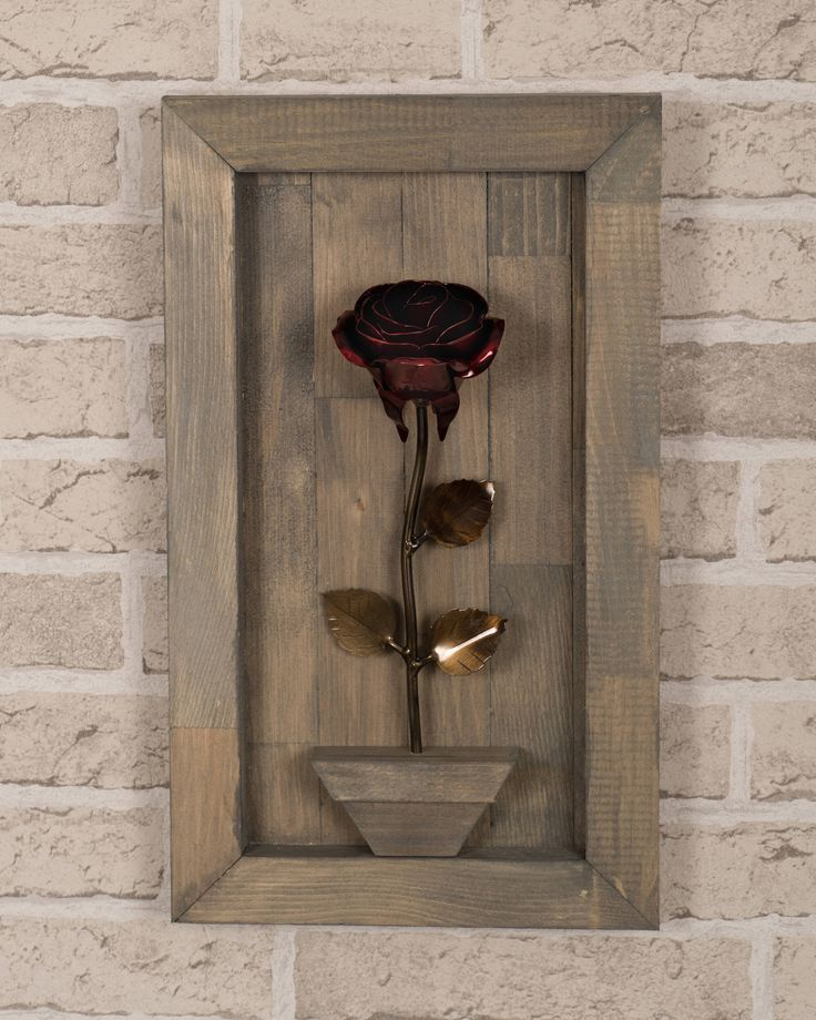 Excited to share the latest addition to my #etsy shop: Hand Forged Wrought Iron Red Metal Rose + Wood Hanging #art #sculpture #valentinesday #blacksmithmade #handforgedrose #metalwork #christmastgifts #ironforgework #handforged