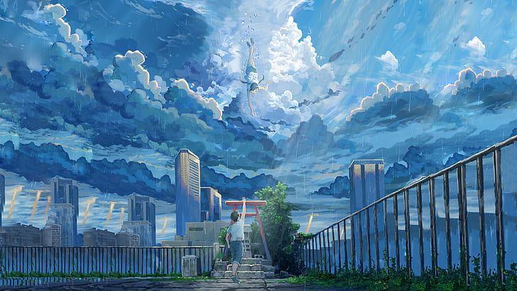 City anime scenery wallpaper