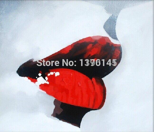 БА Картина Маслом 100% Ручной Работы Абстрактная Живопись Маслом на Холсте Сексуальные Губы Искусство Краски для Украшения в Спальне или в Гостинице