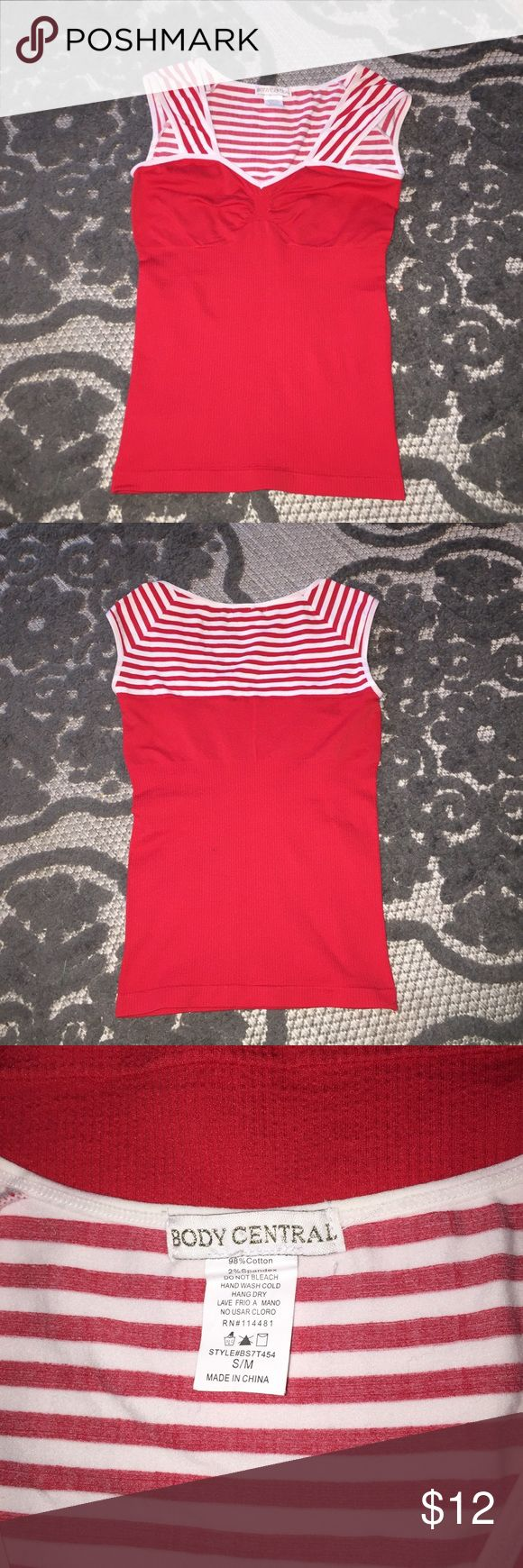 Body Central Top Red stretchy top with white stripes. Body Central Tops Tank Tops