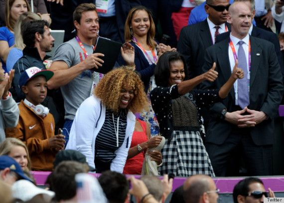 U.S. First Lady, Michelle Obama shows off her style at the Olympics by mixing prints in this polka dot and checkered number. We give her a two-thumbs up! Source: Twitter
