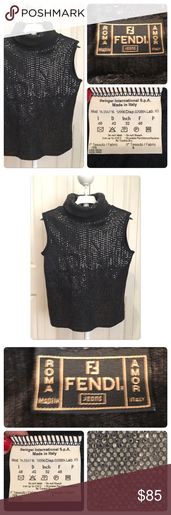 Fendi Sequin sleeveless sweater Fendi Sequin sleeveless sweater. Charcoal gray wool sequent front. Worn once no holes stains rips tears pulls or pilling. Best for Size Small or medium .. please request measurements Fendi Sweaters