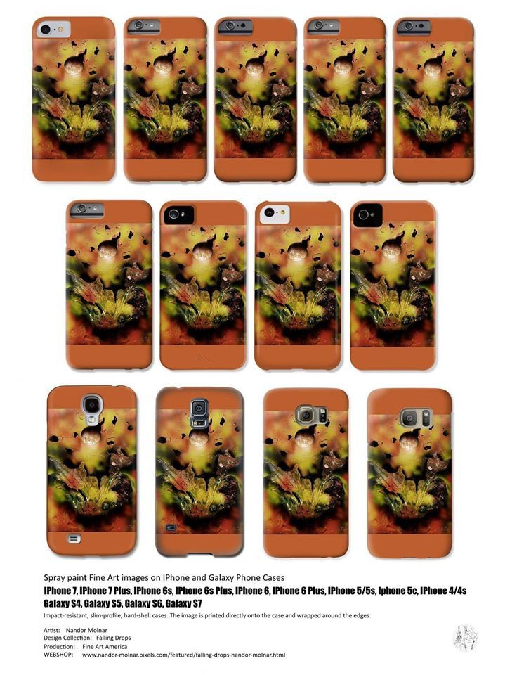 IPhone 7, IPhone 7 Plus, IPhone 6s, IPhone 6s Plus, IPhone 6, IPhone 6 Plus, IPhone 5 / 5s, IPhone 5c, IPhone 4 / 4s Phone Cases featuring the Falling Drops Fine Art spray painting by Nandor Molnar