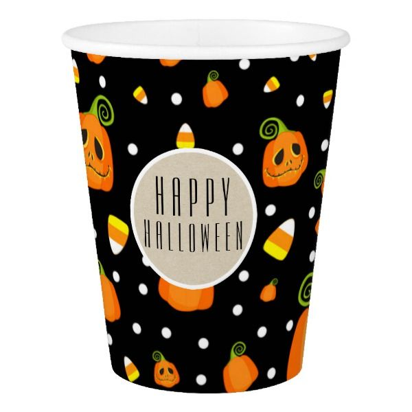 Halloween Smiley Pumpkins Whimsical Pattern Party Paper Cup #halloween #holiday #drinkware #party #cups