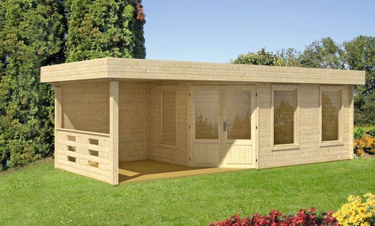 Flachdach Gartenhaus Maja 40B/1 mit Terrasse Flachdach