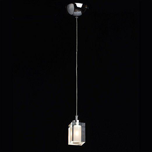 Kompakte urbane Pendelleuchte 2-flammig chromfarbiges Metall Kristallschirm 134cm hoch Durchmesser 12cm grelles direktes Licht für Flur Küche Bartresen Leuchtmittel inklusive 1*20W G4 Halogen und 1*3W LED