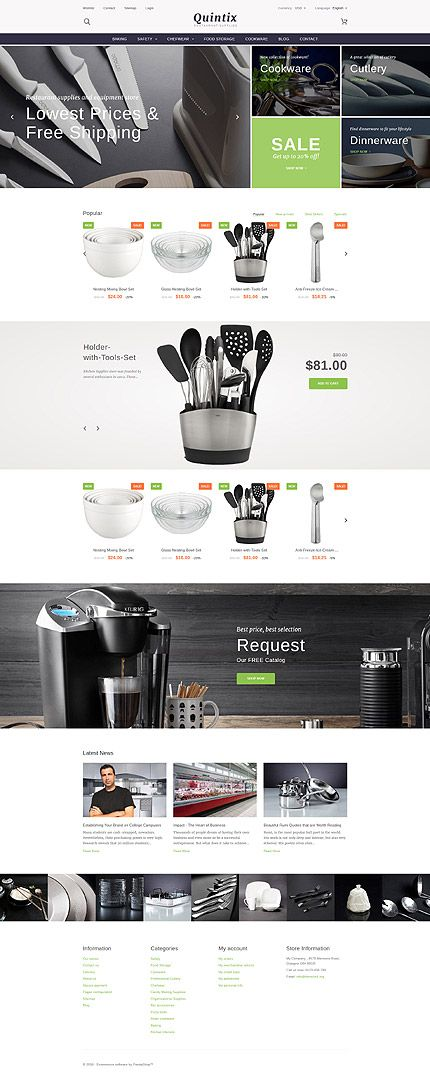 Restaurant Supplies Online Store #Prestashop #template. #themes #business…