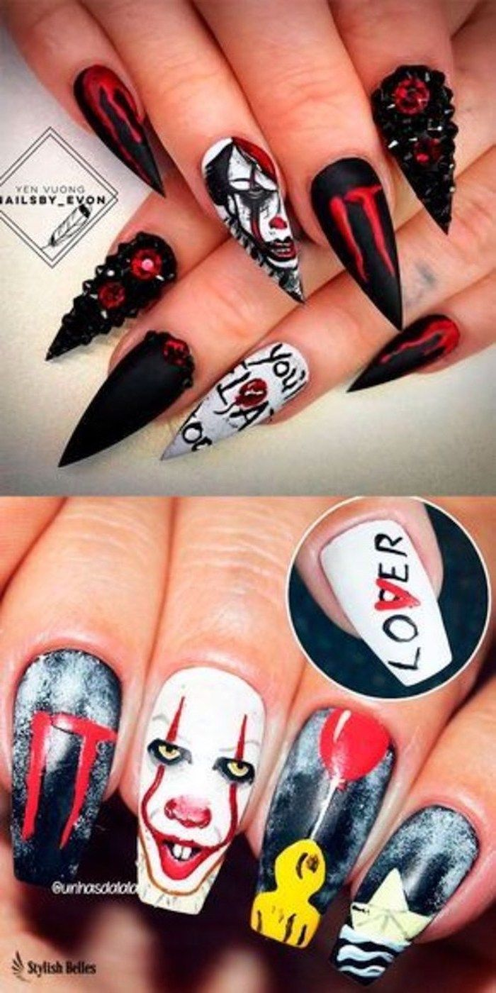 It Movie Inspired Pennywise Red Balloons Youll Float Too Cute Halloween Nails In 2020 Halloween Acrylic Nails Scary Halloween Nails Design Halloween Nail Designs