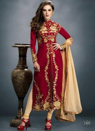 Awesome red and cream wedding churidar suit http://www.angelnx.com/Salwar-Kameez/Churidar-Suits