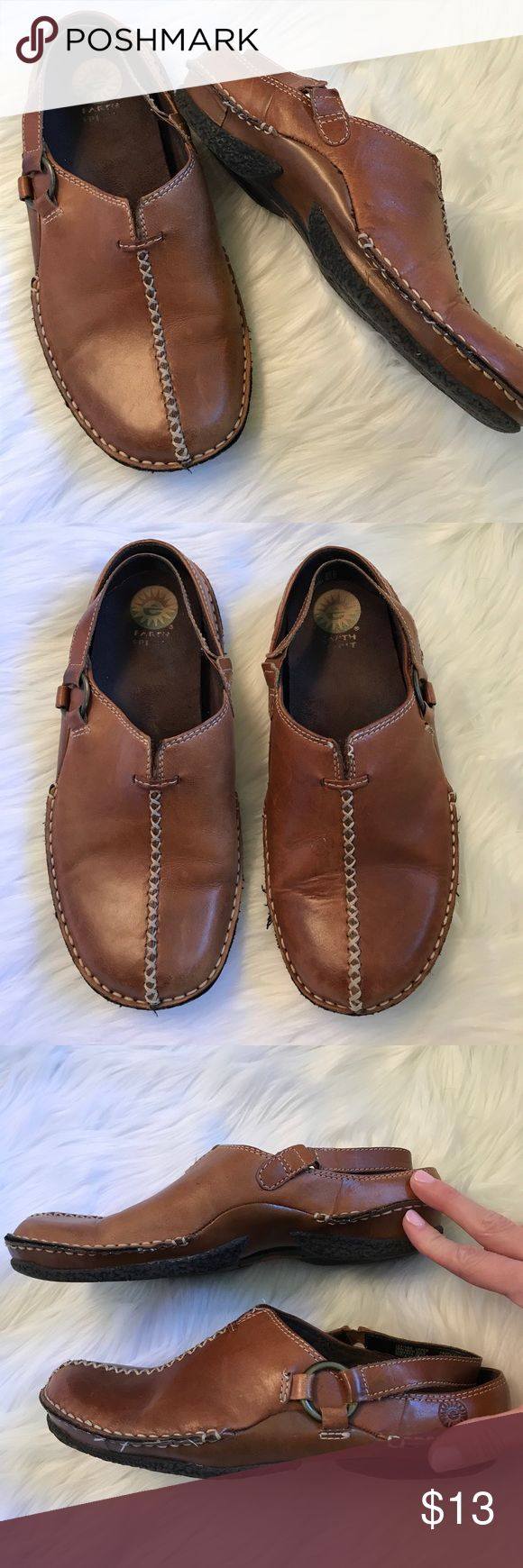 Earth Spirit Creek Sling Leather Upper Shoe Sz 8 Worn a fair amount. No major flaws. They have some life left in them! Great brown shade. earth spirit Shoes