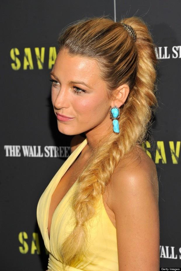 Blake Lively: slick ponytail fishtail braid
