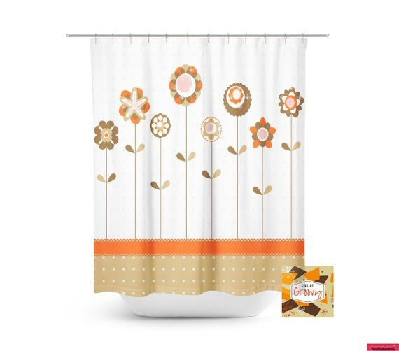 Retro Flower Shower Curtain 70 S Shower Curtain Cool Shower