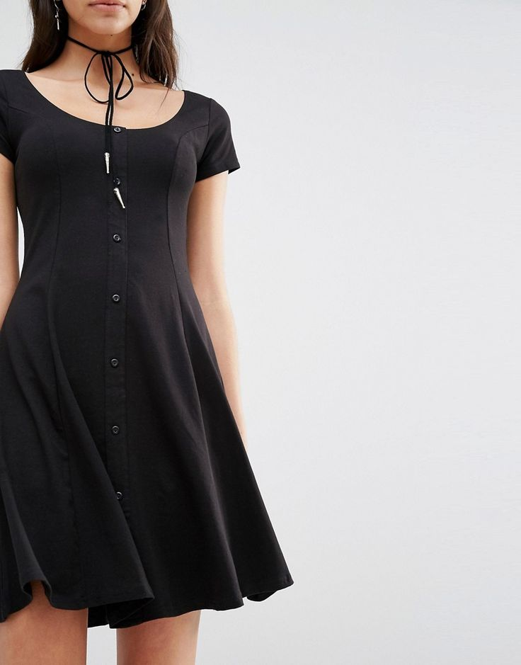 Image 3 ofNew Look Button Up Skater Dress