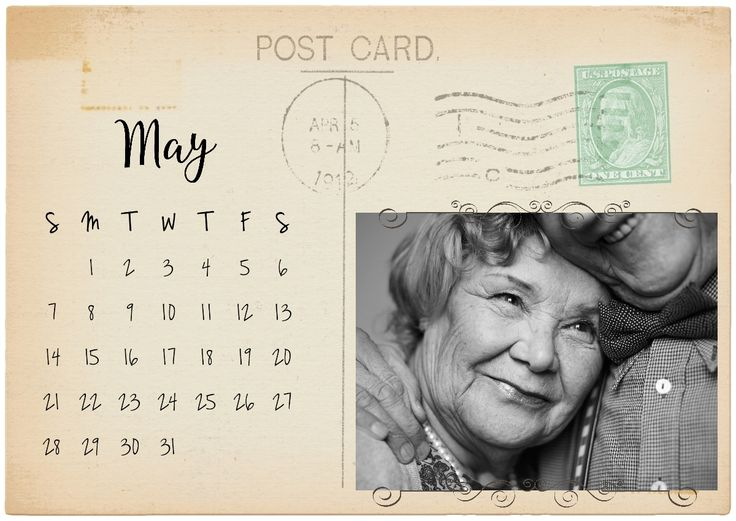Free printable calendar on a vintage postcard with your own photo added with our free calendar maker.