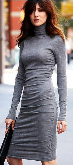 Jersey Dress: Turtleneck Dress, Sweaters, Fashion, Style, Sweater Dresses, Ruched Turtleneck, Sweaterdresses