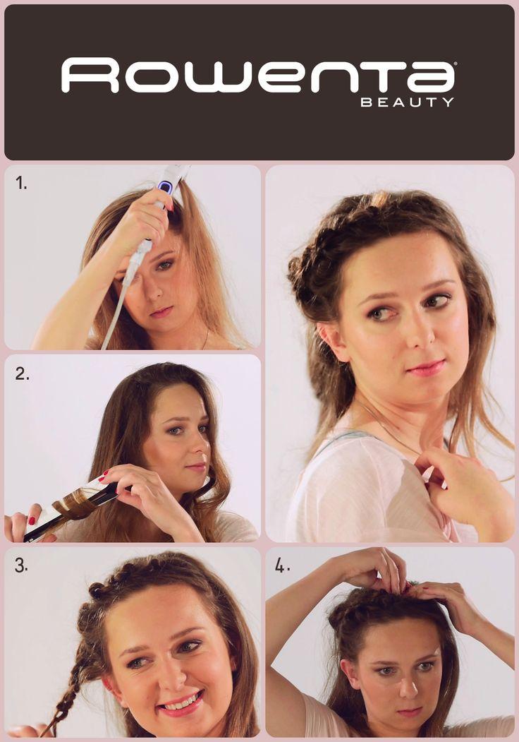 """Warkoczowa korona  Krok 1. Unieś włosy od nasady przy pomocy VOLUM'24 Krok 2. Zrób luźne fale, używając prostownicy RESPECTISSIM 7/7 Krok 3. Zaczynając od skroni, zapleć warkocz Krok 4. Podepnij go przy przeciwległym uchu, tworząc """"opaskę"""" #Respectissim #Rowenta #RowentaPolska #fryzura #włosy #hair #hairstyle #hotd #fryzjer #wlosomania #wlosomaniaczka #wlosomaniaczki #hairmania #hairgoals #haircolor #curls #waves #straightner #volum #wavy #straight #easy #tutorial #stepbystep"""