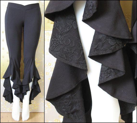 Tribal Belly Dance Pants Black Ruffle Pants by SweetassDesigns, $85.00