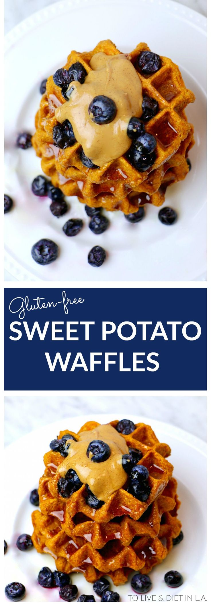Healthy Sweet Potato Belgium Waffles - Made with oat flour, sweet potatoes, and whole healthy ingredients! Gluten-free - can be made vegan.