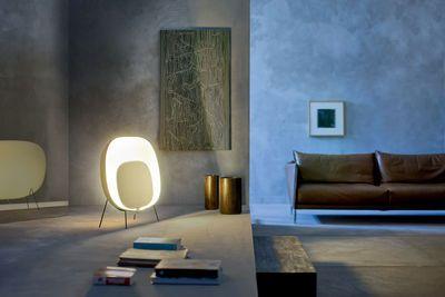 Lampe de sol Stewie / L 77 x H 69 cm Ivoire / rouge - Foscarini