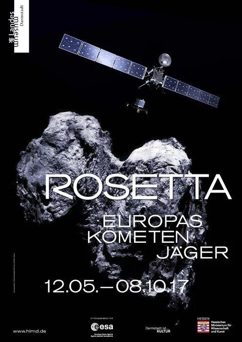 +European Space Agency, ESA´s Rosetta & Philae land at Darmstadt's Landesmuseum 2.5 - 8.10, 2017. Exhibition features Rosetta models & Germany's largest meteorite!