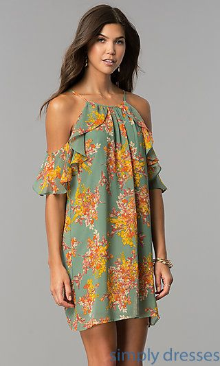 Cold-Shoulder Short Casual Party Dress with Print
