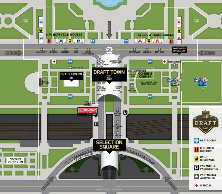 Aerial view of Draft Town http://www.chicagonow.com/show-me-chicago/2015/04/nfl-draft-chicago-getting-around-draft-town/