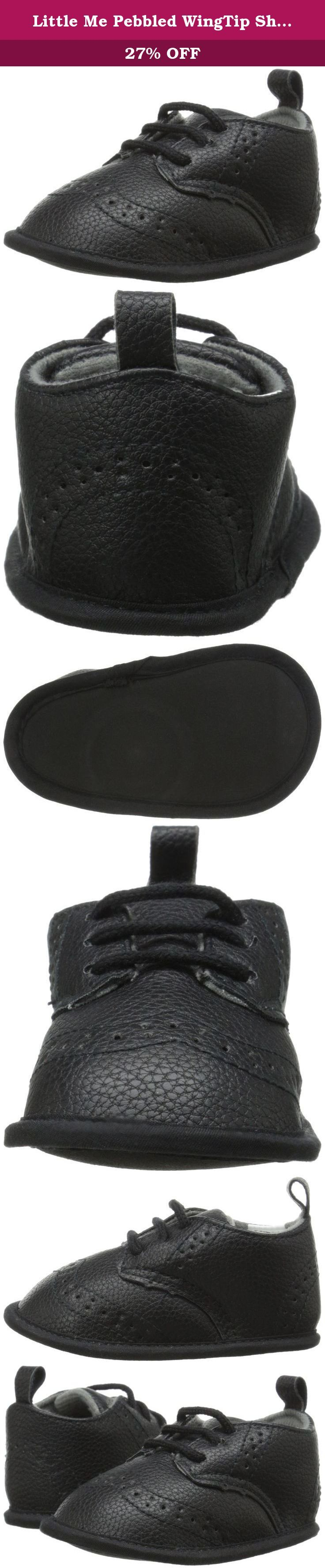 Little Me Pebbled WingTip Shoe Dress Shoe (Infant), Black, 9-12 Months M US Infant. Adorable dressy black shoes to match your baby boy's outfit for special occasions. Wing tip design and brogue detailing adds cute feature to this stylish shoe.
