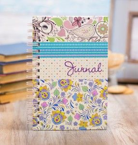 Purple journal with flowers.