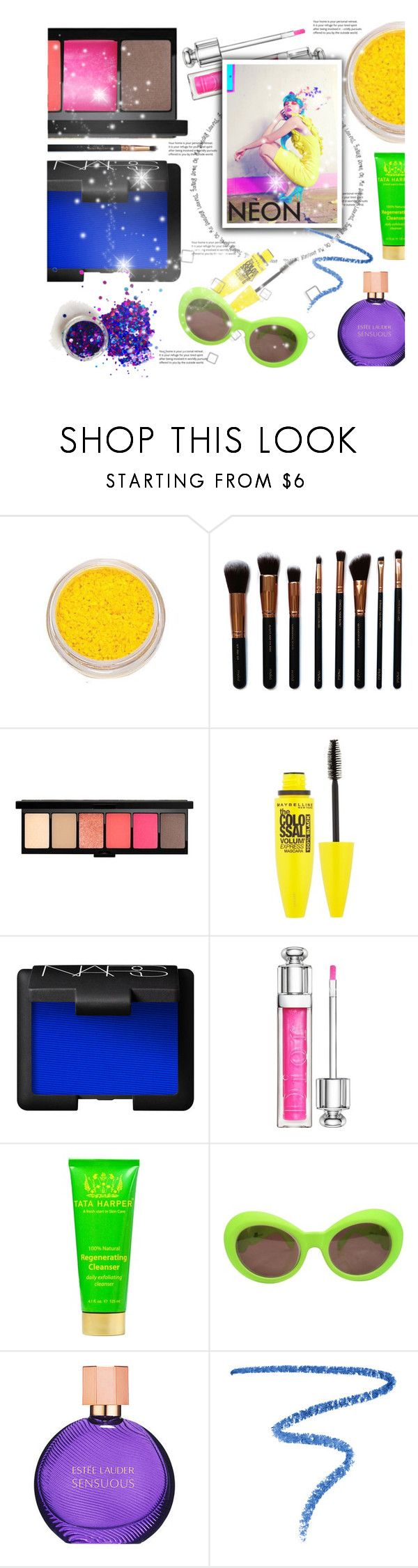 """""""Beauty in Neon"""" by arrow1067 ❤ liked on Polyvore featuring beauty, M.O.T.D Cosmetics, Maybelline, Outremer, Christian Dior, Tata Harper, Versace, Estée Lauder, Marc Jacobs and neonbeauty"""