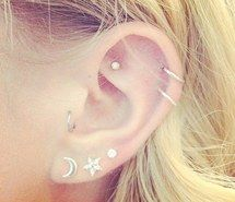 cartilage, earring, piercing, rook, tragus, triple lobe, double helix