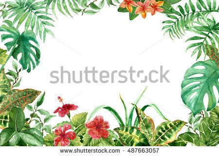 Raster colorful tropical frame made with flowers and leaves. Decoration and design element, illustration for floristry, wedding, celebration themes, part for postcards and printed things.