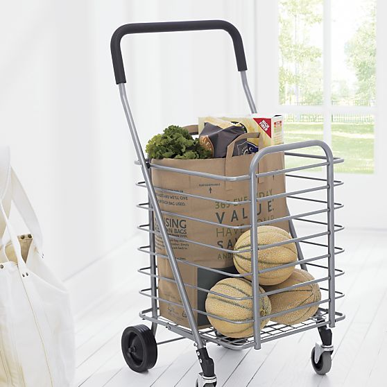 Life meets style™ at the intersection of form and function courtesy of the bright minds at Polder® Housewares. Sturdy yet lightweight aluminum shopping cart rolls easily with front wheels that rotate a full 360 degrees for easy steering. Cart holds up to 30lbs. and folds flat with a simple lift motion for easy portability and storage. For best results, cart should be pulled rather than pushed.